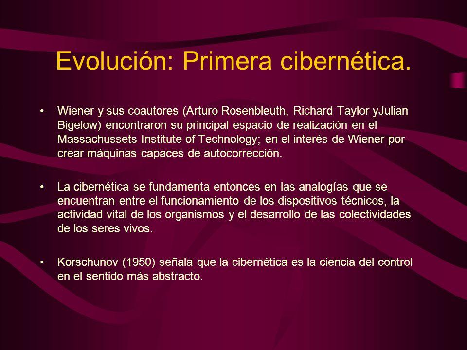 Evolución: Primera cibernética. Wiener y sus coautores (Arturo Rosenbleuth, Richard Taylor yJulian Bigelow) encontraron su principal espacio de realiz