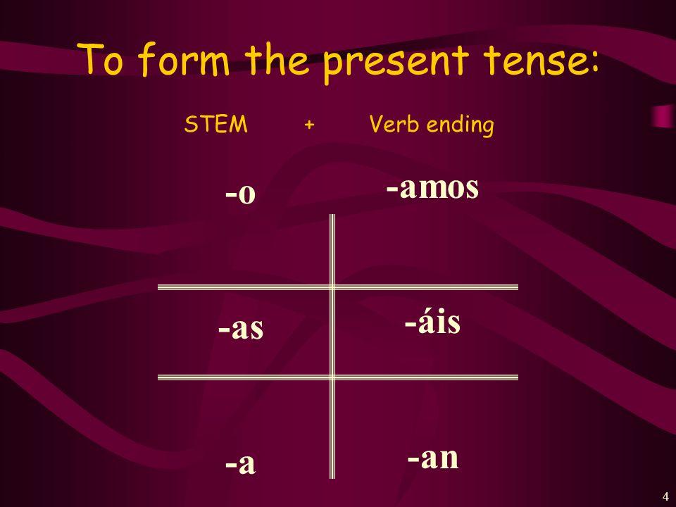 3 Every verb has 2 parts: Hablar= habl- Tomar= tom- Estudiar= estudi- Trabajar= trabaj- Llegar= lleg- Entrar= entr- STEM+ENDING Mirar= mir- Escuchar= escuch- Llevar= llev- Enseñar= enseñ- Sacar= saca- + AR