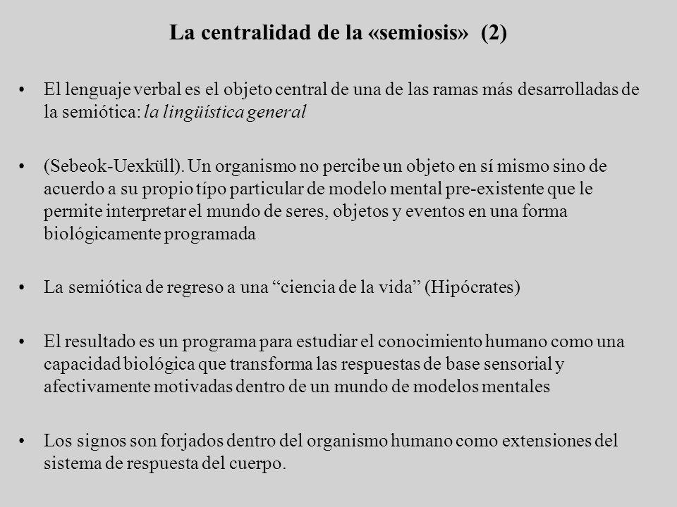 El lenguaje verbal es el objeto central de una de las ramas más desarrolladas de la semiótica: la lingüística general (Sebeok-Uexküll). Un organismo n