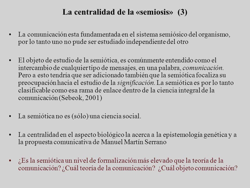 La comunicación esta fundamentada en el sistema semiósico del organismo, por lo tanto uno no pude ser estudiado independiente del otro El objeto de es