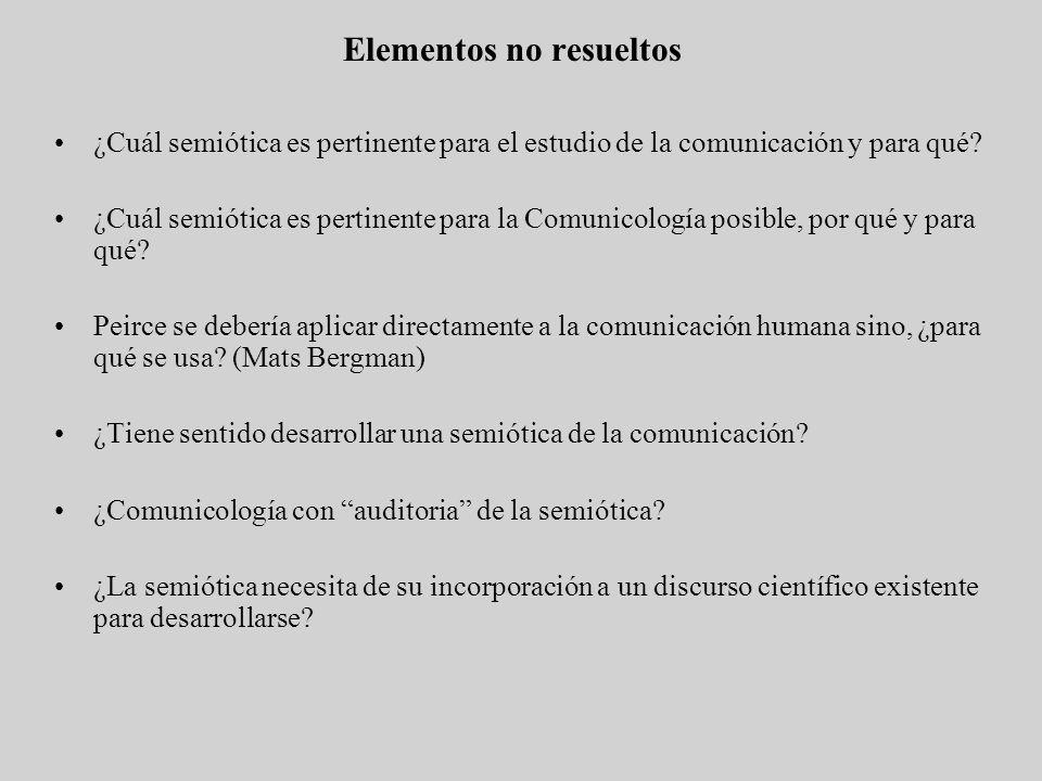 Elementos no resueltos ¿Cuál semiótica es pertinente para el estudio de la comunicación y para qué? ¿Cuál semiótica es pertinente para la Comunicologí