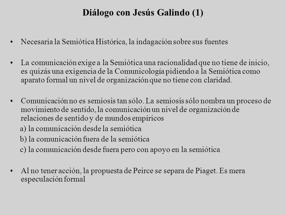 Diálogo con Jesús Galindo (1) Necesaria la Semiótica Histórica, la indagación sobre sus fuentes La comunicación exige a la Semiótica una racionalidad