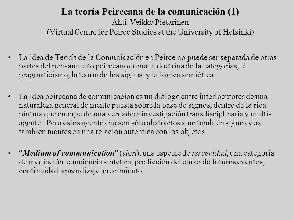 La teoría Peirceana de la comunicación (1) Ahti-Veikko Pietarinen (Virtual Centre for Peirce Studies at the University of Helsinki) La idea de Teoría