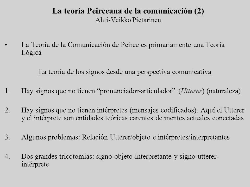 La Teoría de la Comunicación de Peirce es primariamente una Teoría Lógica La teoría de los signos desde una perspectiva comunicativa 1.Hay signos que
