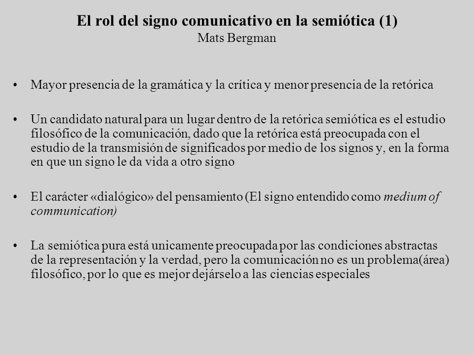 El rol del signo comunicativo en la semiótica (1) Mats Bergman Mayor presencia de la gramática y la crítica y menor presencia de la retórica Un candid