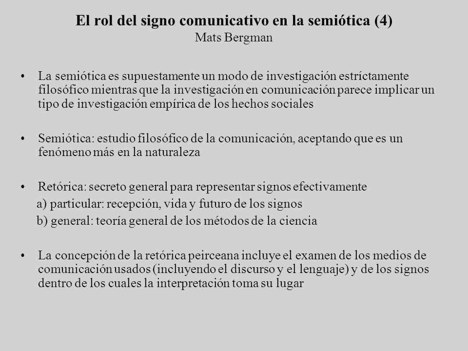 La semiótica es supuestamente un modo de investigación estríctamente filosófico mientras que la investigación en comunicación parece implicar un tipo