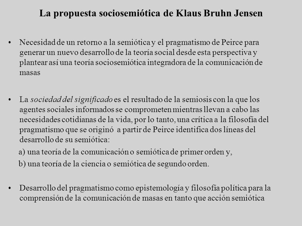 La propuesta sociosemiótica de Klaus Bruhn Jensen Necesidad de un retorno a la semiótica y el pragmatismo de Peirce para generar un nuevo desarrollo d