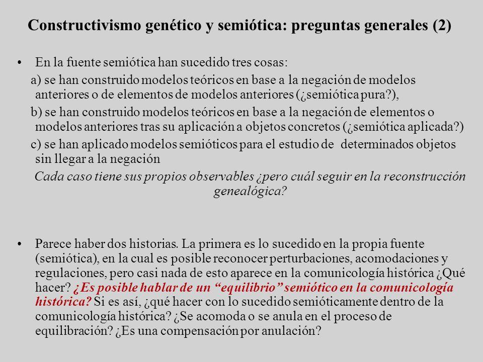 En la fuente semiótica han sucedido tres cosas: a) se han construido modelos teóricos en base a la negación de modelos anteriores o de elementos de mo