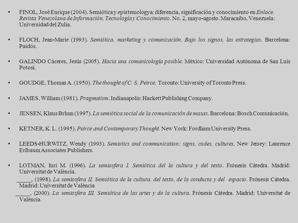 FINOL, José Enrique (2004). Semiótica y epistemologya: diferencia, significación y conocimiento en Enlace. Revista Venezolana de Información, Tecnolog