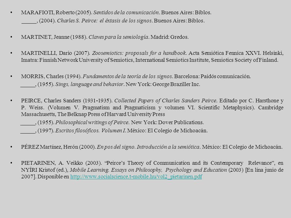 MARAFIOTI, Roberto (2005). Sentidos de la comunicación. Buenos Aires: Biblos. _____, (2004). Charles S. Peirce: el éxtasis de los signos. Buenos Aires