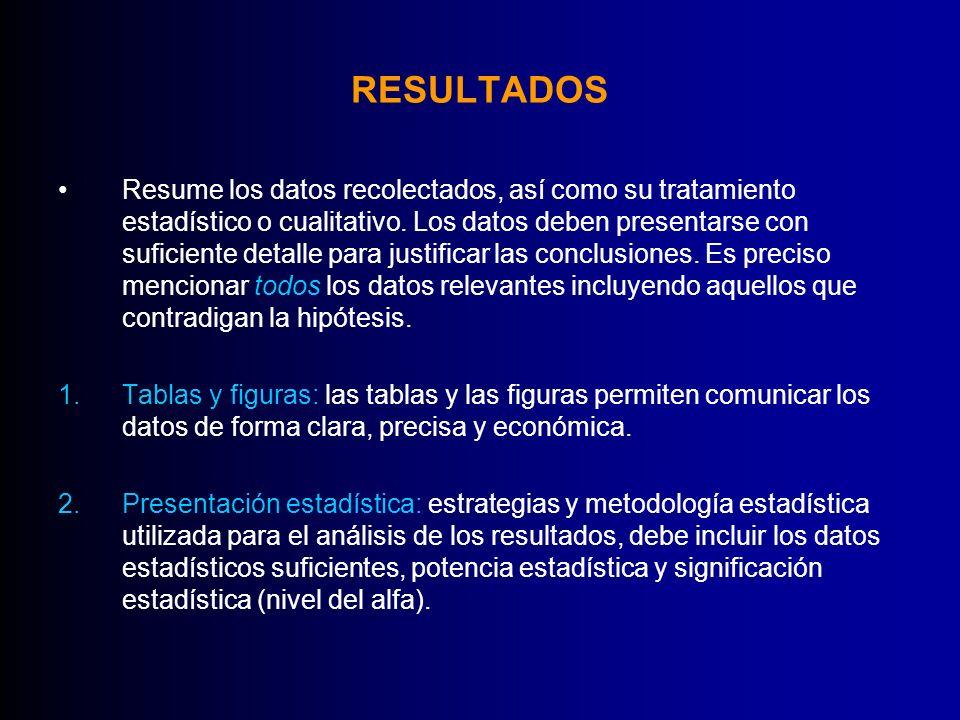 RESULTADOS Resume los datos recolectados, así como su tratamiento estadístico o cualitativo. Los datos deben presentarse con suficiente detalle para j