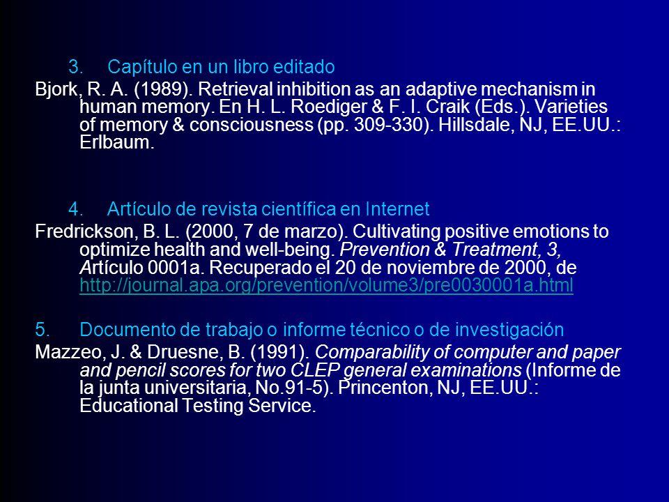 3.Capítulo en un libro editado Bjork, R. A. (1989). Retrieval inhibition as an adaptive mechanism in human memory. En H. L. Roediger & F. I. Craik (Ed