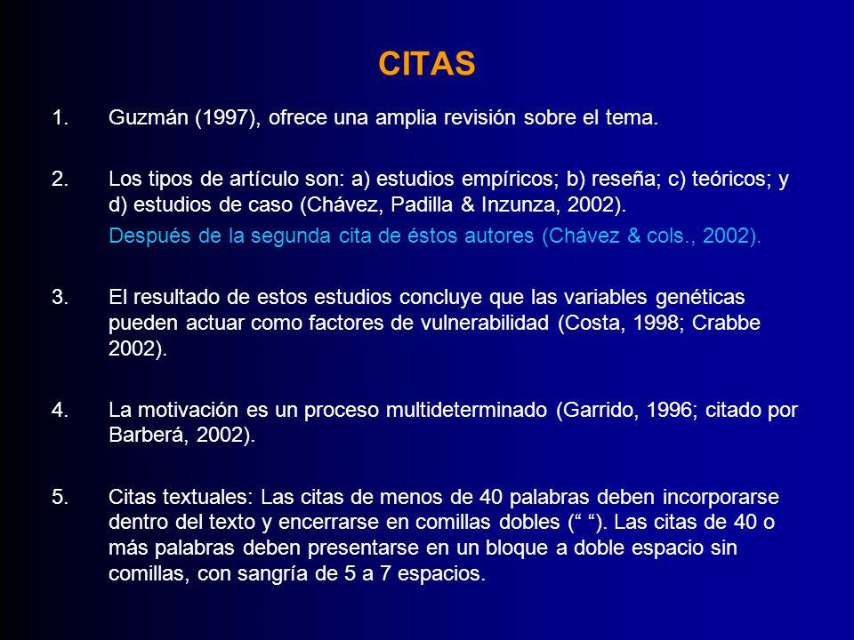 CITAS 1.Guzmán (1997), ofrece una amplia revisión sobre el tema. 2.Los tipos de artículo son: a) estudios empíricos; b) reseña; c) teóricos; y d) estu