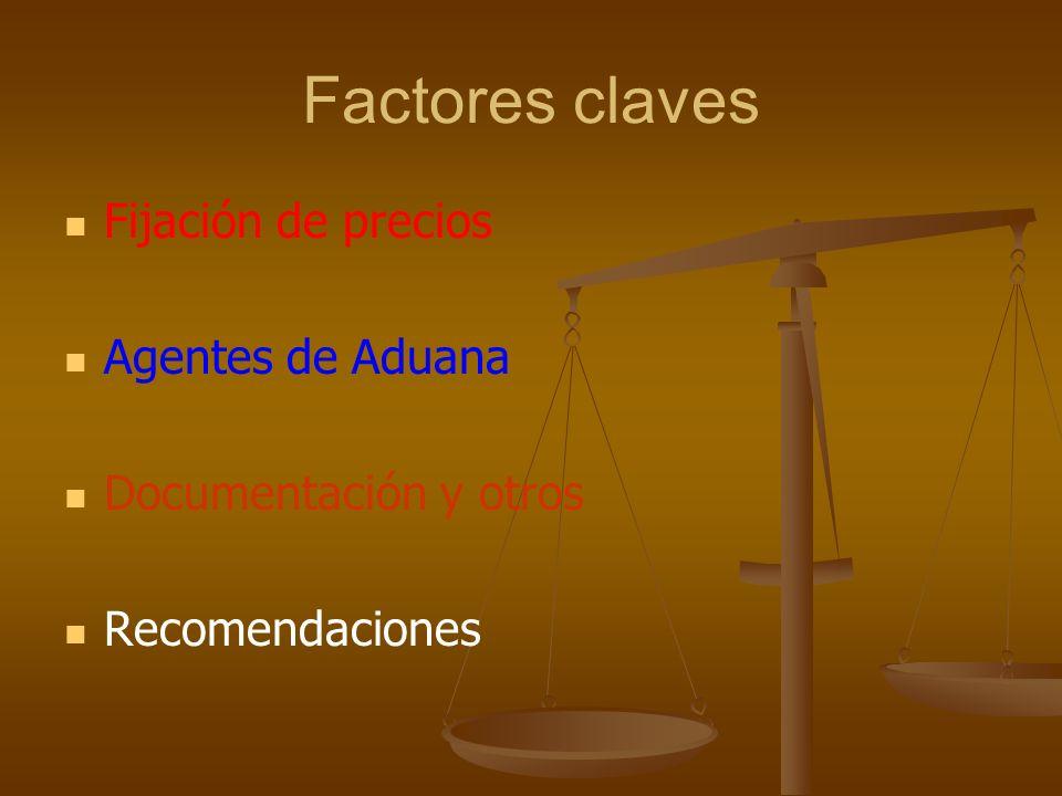 Factores claves Fijación de precios Agentes de Aduana Documentación y otros Recomendaciones