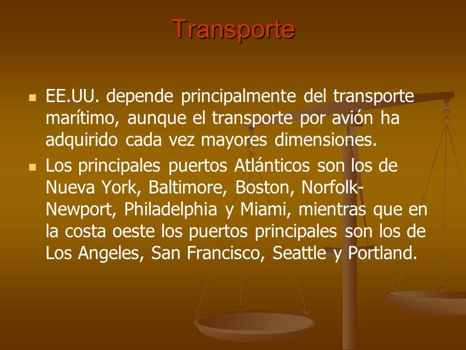 Transporte EE.UU. depende principalmente del transporte marítimo, aunque el transporte por avión ha adquirido cada vez mayores dimensiones. Los princi