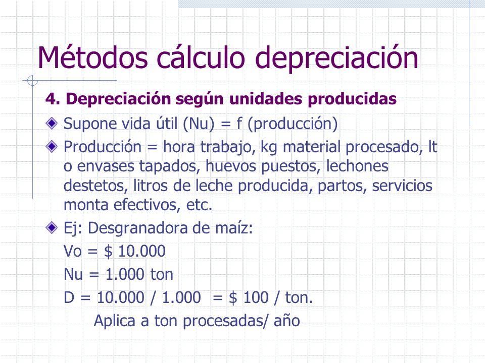 4. Depreciación según unidades producidas Supone vida útil (Nu) = f (producción) Producción = hora trabajo, kg material procesado, lt o envases tapado