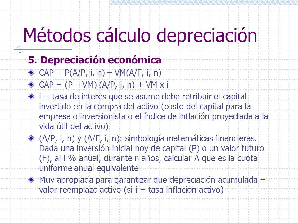 5. Depreciación económica CAP = P(A/P, i, n) – VM(A/F, i, n) CAP = (P – VM) (A/P, i, n) + VM x i i = tasa de interés que se asume debe retribuir el ca