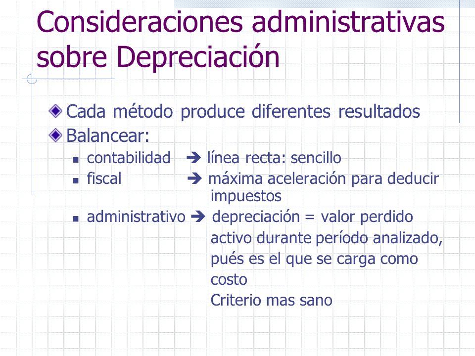Consideraciones administrativas sobre Depreciación Cada método produce diferentes resultados Balancear: contabilidad línea recta: sencillo fiscal máxi