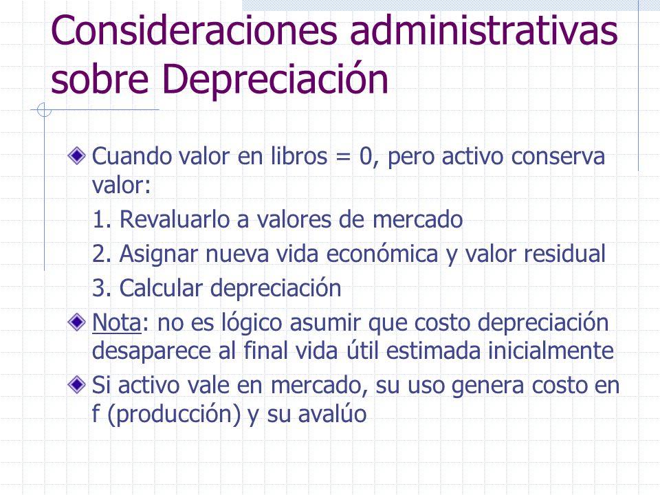Consideraciones administrativas sobre Depreciación Cuando valor en libros = 0, pero activo conserva valor: 1. Revaluarlo a valores de mercado 2. Asign