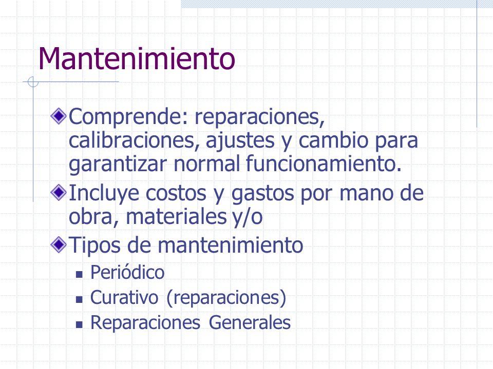 Mantenimiento Comprende: reparaciones, calibraciones, ajustes y cambio para garantizar normal funcionamiento. Incluye costos y gastos por mano de obra