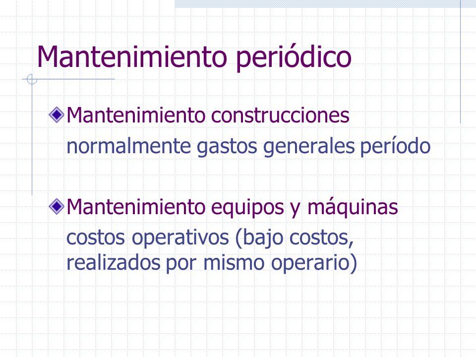 Mantenimiento construcciones normalmente gastos generales período Mantenimiento equipos y máquinas costos operativos (bajo costos, realizados por mism