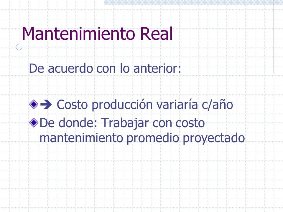 Mantenimiento Real De acuerdo con lo anterior: Costo producción variaría c/año De donde: Trabajar con costo mantenimiento promedio proyectado