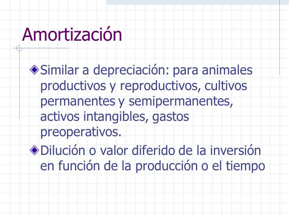 Amortización Similar a depreciación: para animales productivos y reproductivos, cultivos permanentes y semipermanentes, activos intangibles, gastos pr