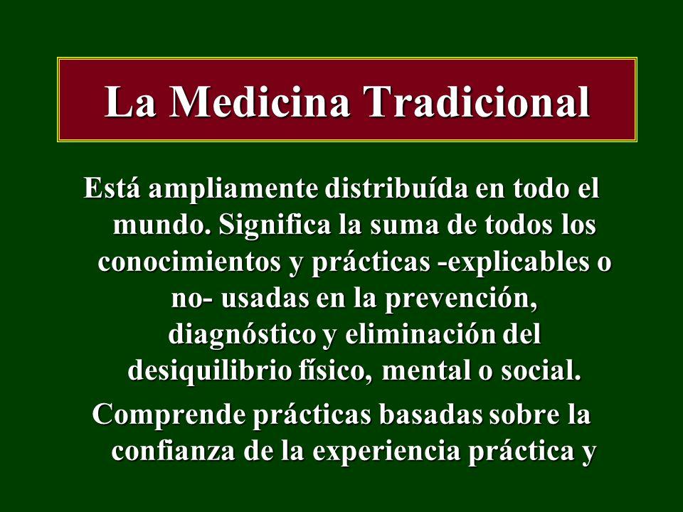 La Medicina Tradicional la observación de cientos de años; antes del desarrollo y la extensión de la medicina científica moderna y que aún está en uso hoy.