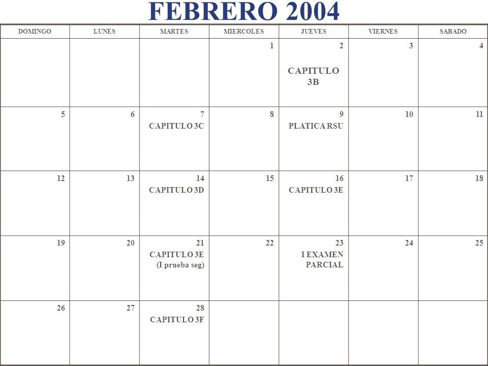 FEBRERO 2004 DOMINGOLUNESMARTESMIERCOLESJUEVESVIERNESSABADO 12 CAPITULO 3B 34 567 CAPITULO 3C 89 PLATICA RSU 1011 121314 CAPITULO 3D 1516 CAPITULO 3E