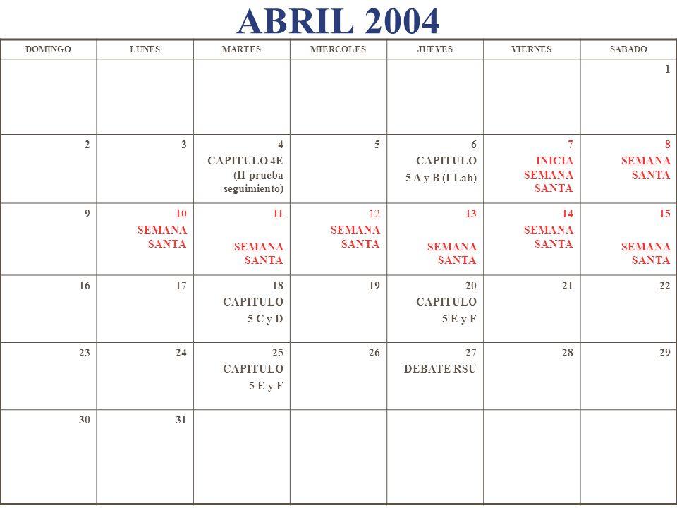 ABRIL 2004 DOMINGOLUNESMARTESMIERCOLESJUEVESVIERNESSABADO 1 234 CAPITULO 4E (II prueba seguimiento) 56 CAPITULO 5 A y B (I Lab) 7 INICIA SEMANA SANTA
