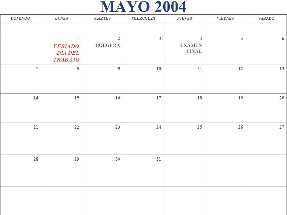 MAYO 2004 DOMINGOLUNESMARTESMIERCOLESJUEVESVIERNESSABADO 1 FERIADO DÍA DEL TRABAJO 2 HOLGURA 34 EXAMEN FINAL 56 78910111213 14151617181920 21222324252