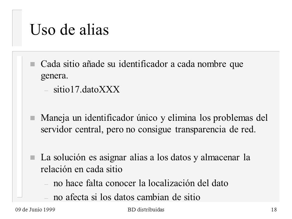 09 de Junio 1999BD distribuidas18 Uso de alias n Cada sitio añade su identificador a cada nombre que genera. – sitio17.datoXXX n Maneja un identificad