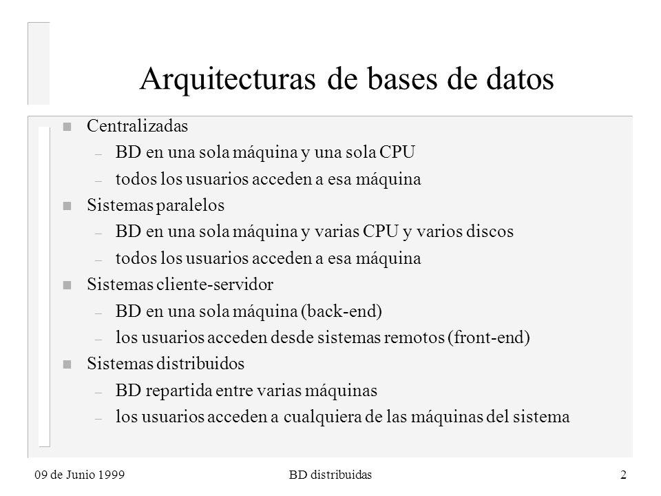 09 de Junio 1999BD distribuidas2 Arquitecturas de bases de datos n Centralizadas – BD en una sola máquina y una sola CPU – todos los usuarios acceden a esa máquina n Sistemas paralelos – BD en una sola máquina y varias CPU y varios discos – todos los usuarios acceden a esa máquina n Sistemas cliente-servidor – BD en una sola máquina (back-end) – los usuarios acceden desde sistemas remotos (front-end) n Sistemas distribuidos – BD repartida entre varias máquinas – los usuarios acceden a cualquiera de las máquinas del sistema