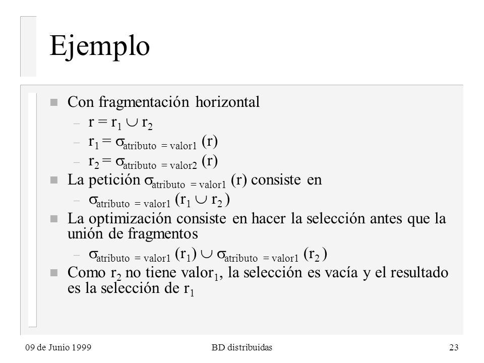 09 de Junio 1999BD distribuidas23 Ejemplo n Con fragmentación horizontal – r = r 1 r 2 – r 1 = atributo = valor1 (r) – r 2 = atributo = valor2 (r) n La petición atributo = valor1 (r) consiste en – atributo = valor1 (r 1 r 2 ) n La optimización consiste en hacer la selección antes que la unión de fragmentos – atributo = valor1 (r 1 ) atributo = valor1 (r 2 ) n Como r 2 no tiene valor 1, la selección es vacía y el resultado es la selección de r 1