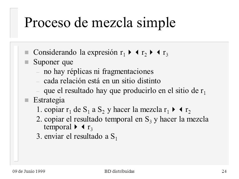 09 de Junio 1999BD distribuidas24 Proceso de mezcla simple n Considerando la expresión r 1 r 2 r 3 n Suponer que – no hay réplicas ni fragmentaciones – cada relación está en un sitio distinto – que el resultado hay que producirlo en el sitio de r 1 n Estrategia 1.