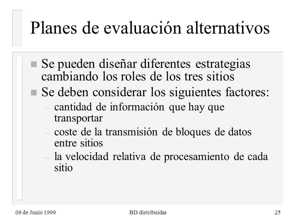 09 de Junio 1999BD distribuidas25 Planes de evaluación alternativos n Se pueden diseñar diferentes estrategias cambiando los roles de los tres sitios