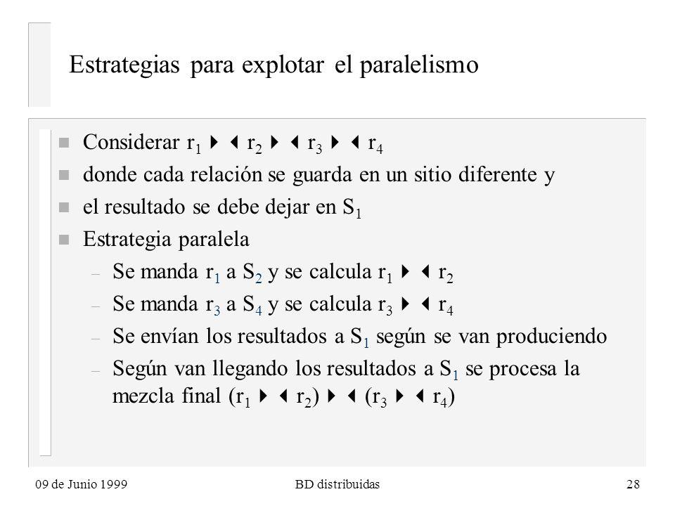09 de Junio 1999BD distribuidas28 Estrategias para explotar el paralelismo n Considerar r 1 r 2 r 3 r 4 n donde cada relación se guarda en un sitio diferente y n el resultado se debe dejar en S 1 n Estrategia paralela – Se manda r 1 a S 2 y se calcula r 1 r 2 – Se manda r 3 a S 4 y se calcula r 3 r 4 – Se envían los resultados a S 1 según se van produciendo – Según van llegando los resultados a S 1 se procesa la mezcla final (r 1 r 2 ) (r 3 r 4 )