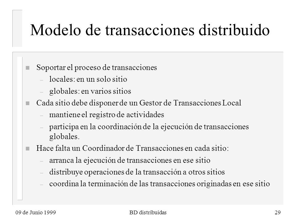 09 de Junio 1999BD distribuidas29 Modelo de transacciones distribuido n Soportar el proceso de transacciones – locales: en un solo sitio – globales: en varios sitios n Cada sitio debe disponer de un Gestor de Transacciones Local – mantiene el registro de actividades – participa en la coordinación de la ejecución de transacciones globales.