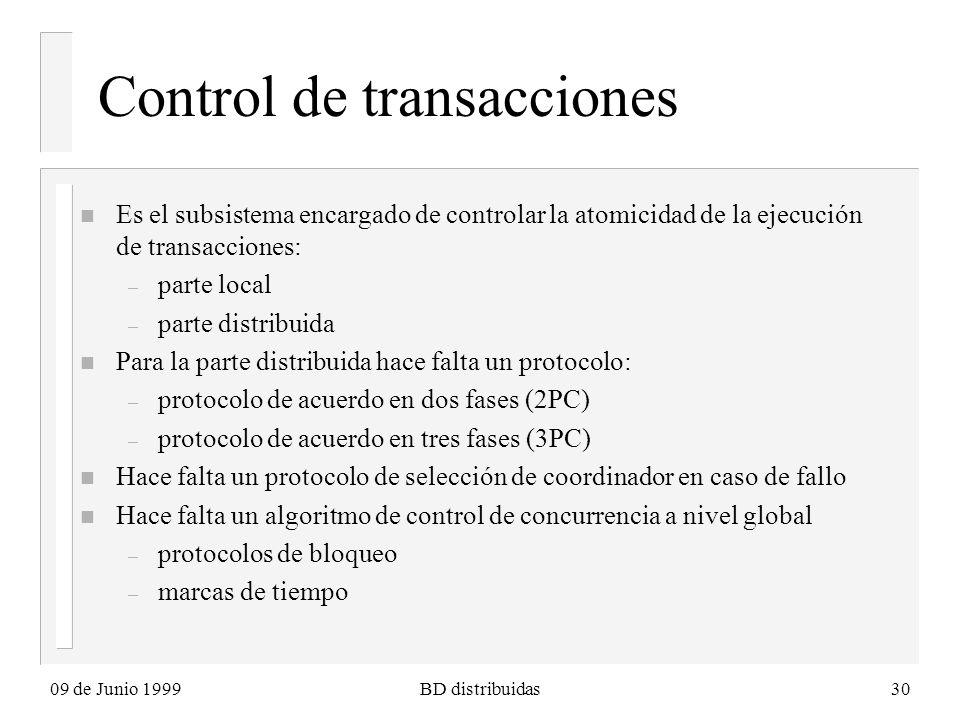 09 de Junio 1999BD distribuidas30 Control de transacciones n Es el subsistema encargado de controlar la atomicidad de la ejecución de transacciones: – parte local – parte distribuida n Para la parte distribuida hace falta un protocolo: – protocolo de acuerdo en dos fases (2PC) – protocolo de acuerdo en tres fases (3PC) n Hace falta un protocolo de selección de coordinador en caso de fallo n Hace falta un algoritmo de control de concurrencia a nivel global – protocolos de bloqueo – marcas de tiempo