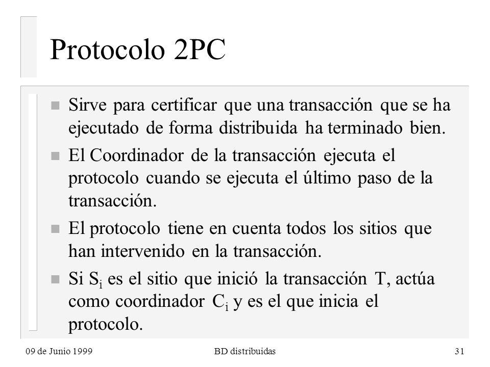 09 de Junio 1999BD distribuidas31 Protocolo 2PC n Sirve para certificar que una transacción que se ha ejecutado de forma distribuida ha terminado bien.