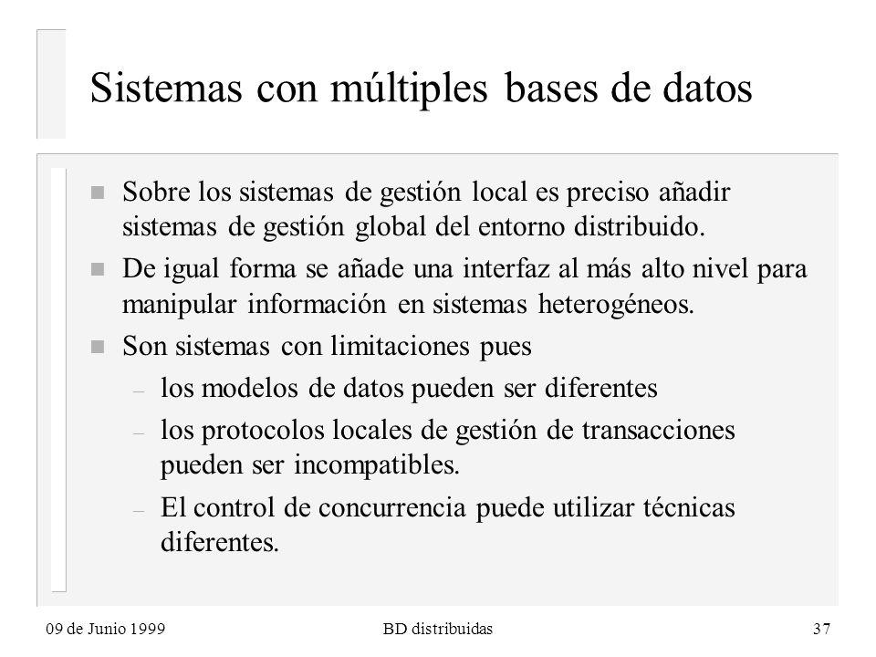 09 de Junio 1999BD distribuidas37 Sistemas con múltiples bases de datos n Sobre los sistemas de gestión local es preciso añadir sistemas de gestión global del entorno distribuido.