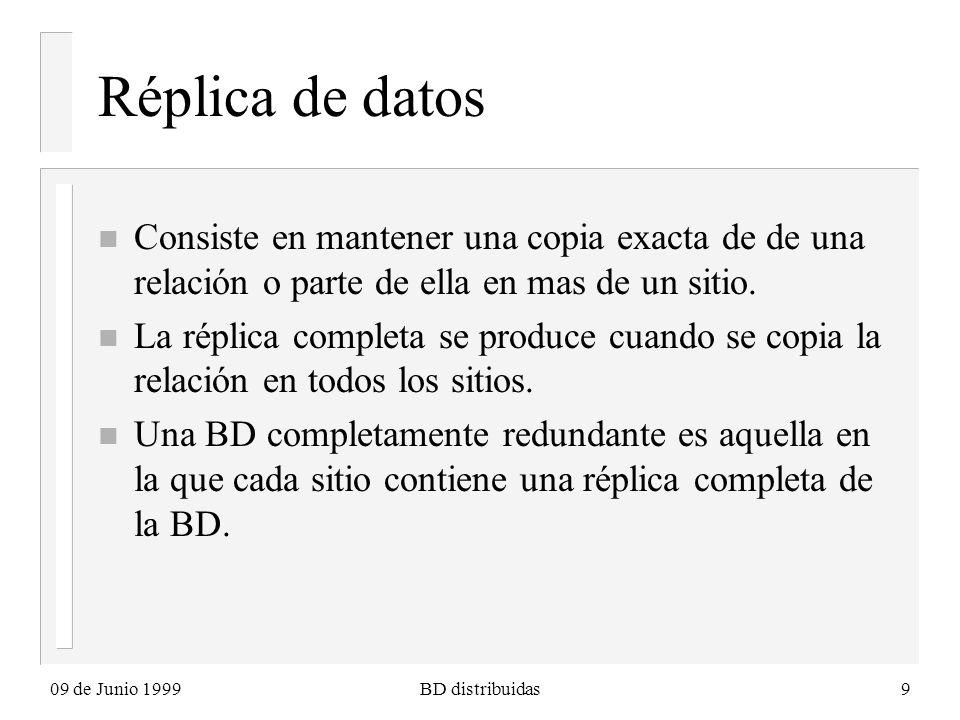 09 de Junio 1999BD distribuidas9 Réplica de datos n Consiste en mantener una copia exacta de de una relación o parte de ella en mas de un sitio. n La