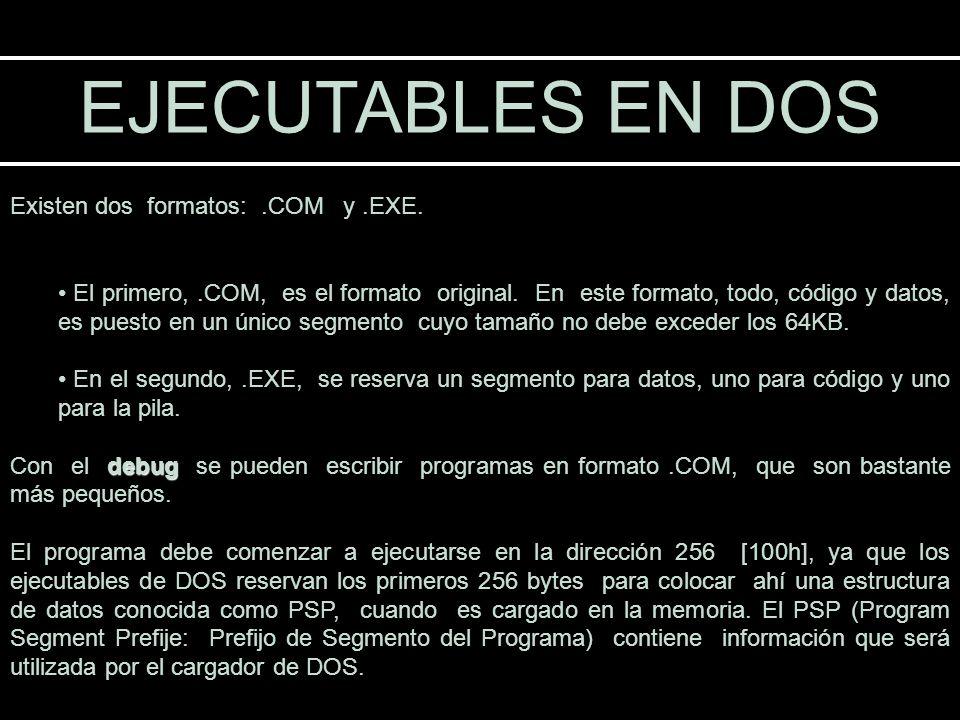 EJECUTABLES EN DOS Existen dos formatos:.COM y.EXE. El primero,.COM, es el formato original. En este formato, todo, código y datos, es puesto en un ún