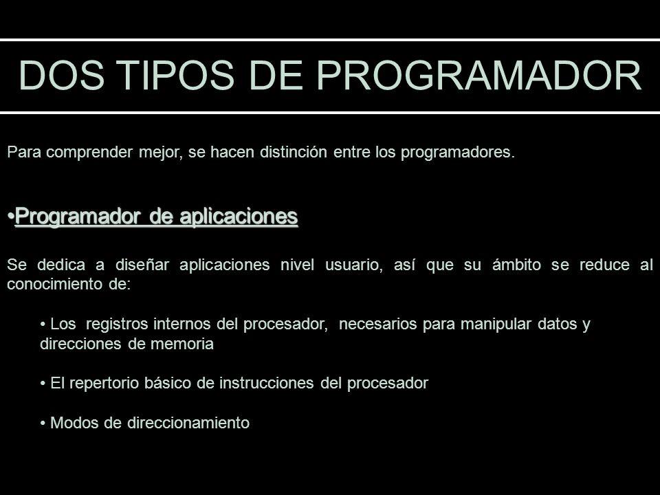 DOS TIPOS DE PROGRAMADOR Para comprender mejor, se hacen distinción entre los programadores. Programador de aplicacionesProgramador de aplicaciones Se