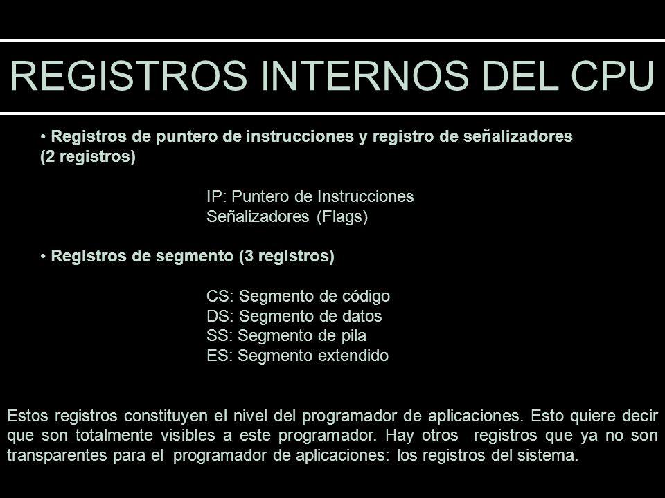 Registros de puntero de instrucciones y registro de señalizadores (2 registros) IP: Puntero de Instrucciones Señalizadores (Flags) Registros de segmen