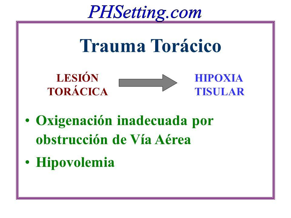 Oxigenación inadecuada por obstrucción de Vía Aérea Hipovolemia LESIÓN TORÁCICA Trauma Torácico HIPOXIA TISULAR