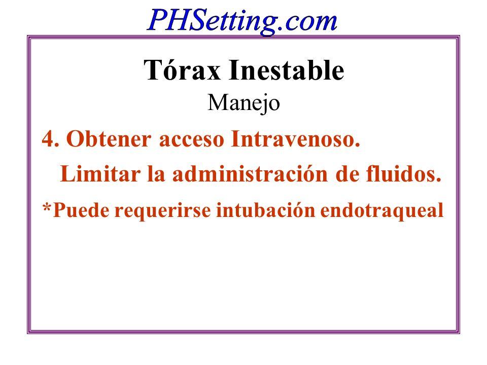 Tórax Inestable Manejo 4. Obtener acceso Intravenoso. Limitar la administración de fluidos. *Puede requerirse intubación endotraqueal