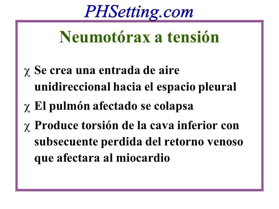 Neumotórax a tensión Se crea una entrada de aire unidireccional hacia el espacio pleural El pulmón afectado se colapsa Produce torsión de la cava infe