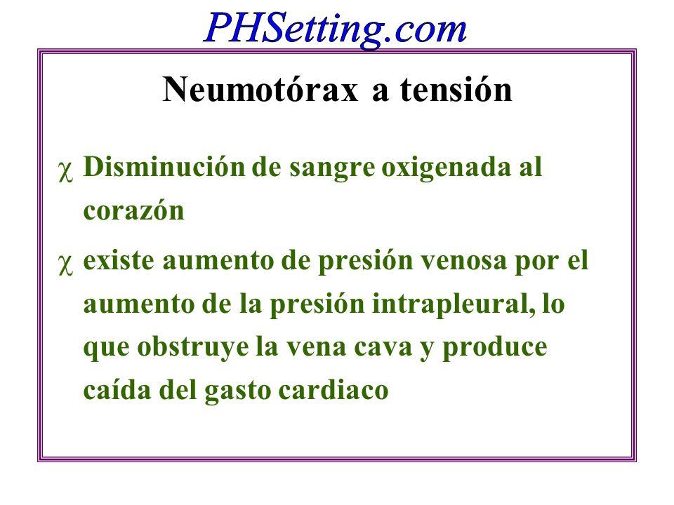 Neumotórax a tensión Disminución de sangre oxigenada al corazón existe aumento de presión venosa por el aumento de la presión intrapleural, lo que obs