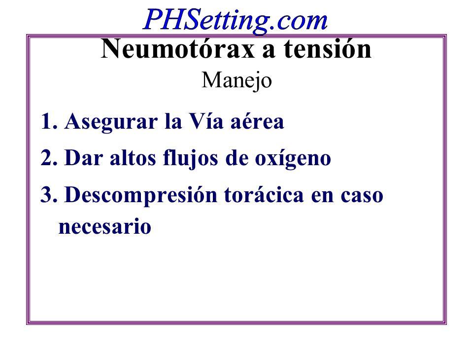Neumotórax a tensión Manejo 1. Asegurar la Vía aérea 2. Dar altos flujos de oxígeno 3. Descompresión torácica en caso necesario